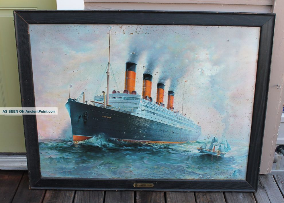 Antique Vintage Ticket Office Cunard Rms Aquitania Tin Litho Steamship Ship Sign Plaques & Signs photo