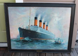 Antique Vintage Ticket Office Cunard Rms Aquitania Tin Litho Steamship Ship Sign photo