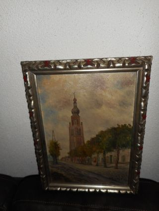 Old Oil Painting,  { Church With Trees,  Is Signed,  Great Frame,  And Antique }. photo