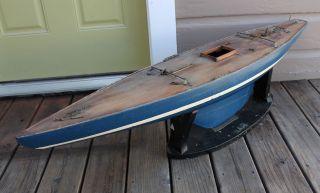 Antique Vintage Wood Wooden Model Sailboat Pond Boat Yacht Ship 50/800 photo