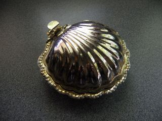 Rare Vintage Silver Plated Oyster Shell Condiment Bowl With Attached Shell Lid photo