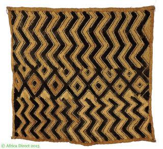 Kuba Textile Raffia Square Congo African Art Was $49 photo