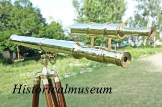 Us Navy Griffith Astro Telescope Double Barrel Nautical Telescope W Tripod Stand photo