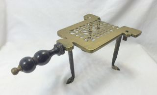 Exceptional Fine Antique Authentic Colonial Era Hearth Trivet Brass W/spade Feet photo
