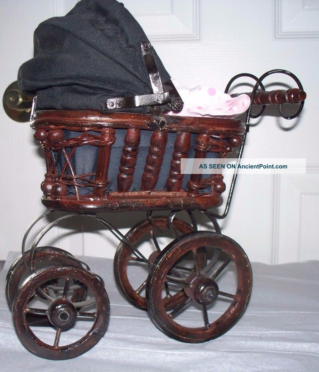 Antique Small Doll Buggy / Pram Wicker,  Metal Canvas Carriage W/doll Baby Carriages & Buggies photo