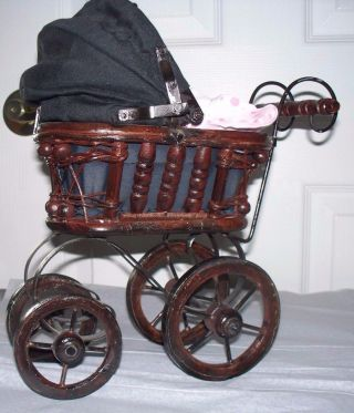 Antique Small Doll Buggy / Pram Wicker,  Metal Canvas Carriage W/doll photo