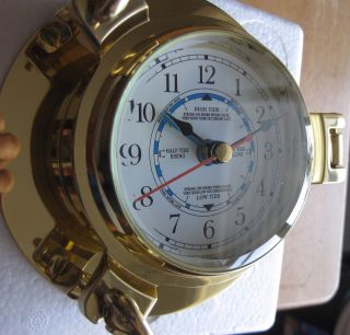 Small 5.  5inch Time And Tide Clock Brass Case photo
