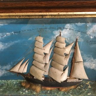 Very Rare Maritime Hand Carved Ship Diorama Signed And Dated August 18,  1885 photo