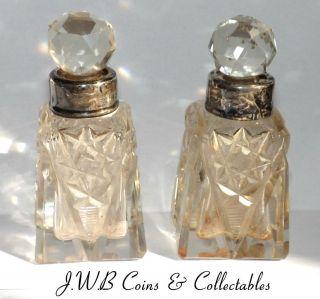Antique Cut Glass Silver Rimmed Bottles photo