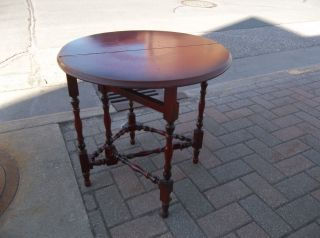 Vintage Small Single Gate Leg Round Mahogany Table photo