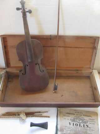Old 7/8 Violin Antique Handmade Wooden Box photo