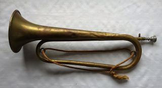 Antique French Military Trumpet Couesnon & Co 19th Cent photo