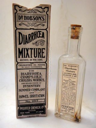 1919 Antique Dr.  Hobsons Diarrhoea Bottle Box Quack Medicine Pfeiffer Dysentery photo