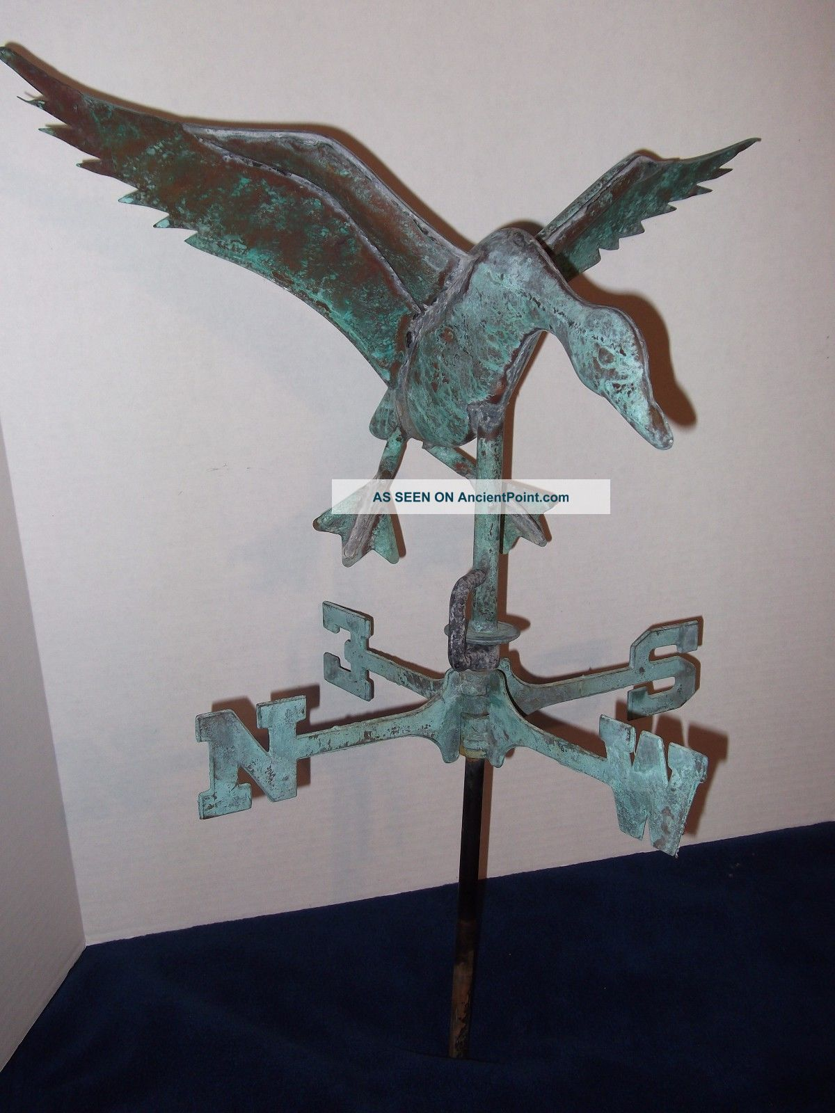 Vintage Flying Duck Weathervane Weathered Copper 21 Tall X 17 Wide