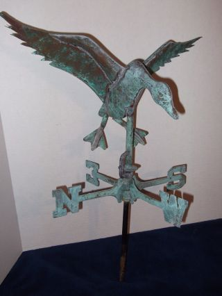 Vintage Flying Duck Weathervane Weathered Copper 21
