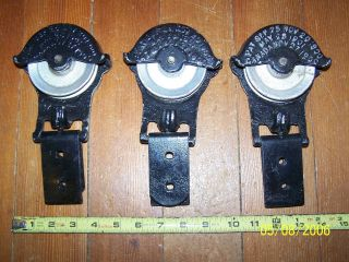 3 Restored Antique/vintage F.  E.  Meyers Barn Door Track Rollers Hanger Hardware photo