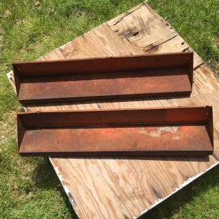 2 Vtg Primitive Industrial Tractor Farm Barn Tool Wall Shelves Rusty Chic photo