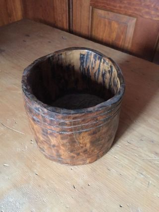 Early Antique Wooden Treen Bowl photo