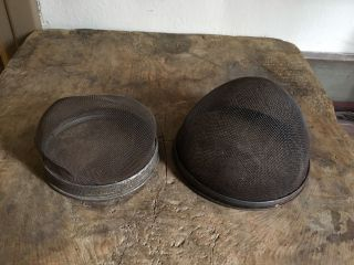 Pair Old Antique Mesh Domes Shoo Fly Covers Great Patina Aafa Pantry photo