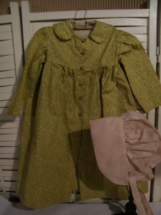 Primitive Prairie Little Pioneer Dress Mustard Calico With Bonnet Tea Stained photo