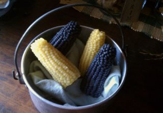 Primitive Homestead Cabin Pantry Plain Beeswax Corn Cobs Bowl Filler Jar Ornies photo