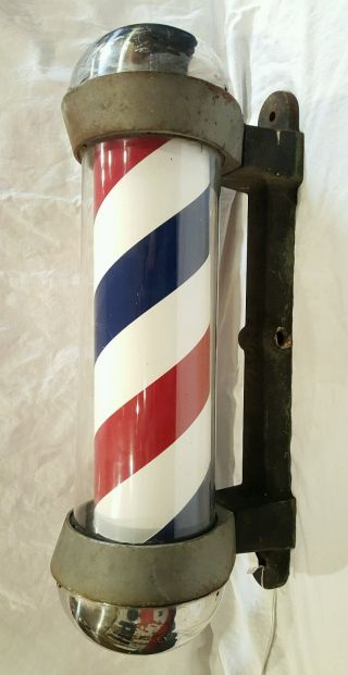 Antique Vintage Koken Light Up Spining Cast Iron/glass Barber Pole photo