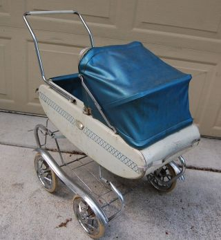 Vintage Metal Bumper Baby Carriage Stroller,  Chrome Fenders,  Spring Suspension photo