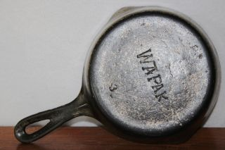 Wapak (tapered Logo) Size 3 Cast Iron Skillet Smooth Bottom Chrome 1912 - 1925 photo