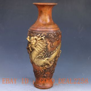 Chinese Brass Handwork Carved Dragon Vase W Qing Dynasty Mark 2 photo