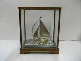 The Sailboat Of Silver970 Of The Most Wonderful Japan.  A Japanese Antique. photo