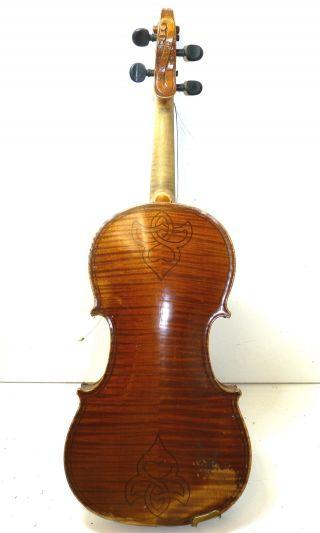 Antique Eduard Reichart Full Size 4/4 Gaspar De Salo Copy Violin W/ Bausch Bow photo