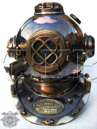 Antique U.  S Navy Mark V Solid Copper Brass Diving Divers Helmet Full Size 18