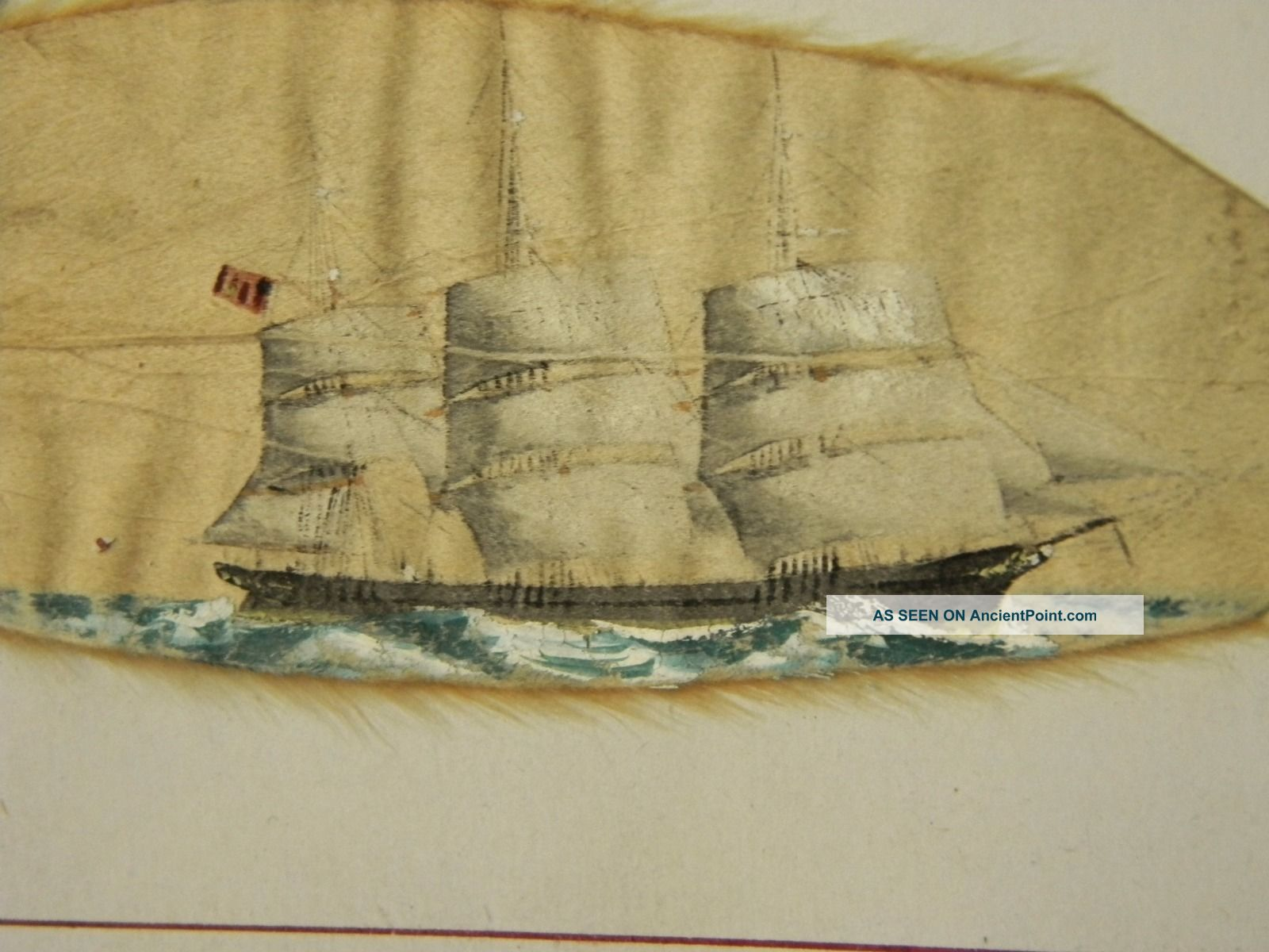 Antique 19c Folk Art Miniature Sailing Ship Painting Theodore H.  Rand Nr Folk Art photo