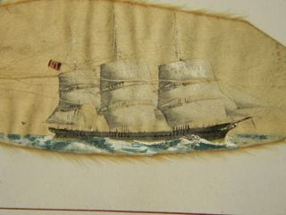 Antique 19c Folk Art Miniature Sailing Ship Painting Theodore H.  Rand Nr photo