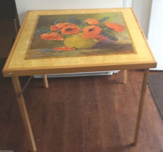 Vintage Hyacinth & Poppy Print Wooden Fold - Up Card Table - Signed Mstreck photo