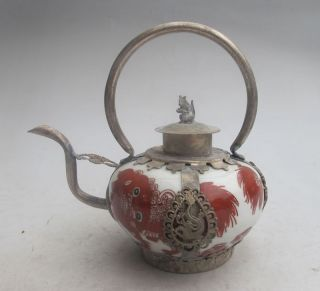 Chinese Old Porcelain Handwork Painting Dragon Tea Pot photo