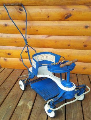 Early 1950 ' S Taylor Tot Vintage Stroller Metal Walker Blue Baby Buggy photo