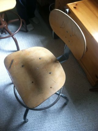 Vintage Industrial Chair/stool - Office,  Drafting,  Bar Stool,  Man Cave,  Etc. photo