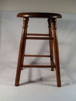 Antique Stool,  Ash Seat With Maple Legs.  19 1/2 - Inch High. photo