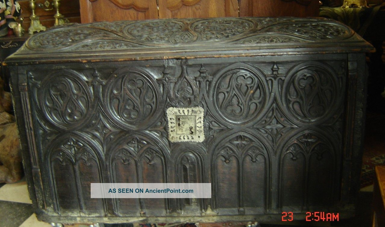 Antique England Medieval Chest Coffer Gothic Large With Family Crest C.  1590 Rare Pre-1800 photo