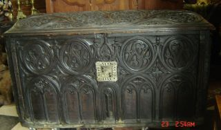 Antique England Medieval Chest Coffer Gothic Large With Family Crest C.  1590 Rare photo