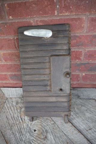 Vtg Cast Iron Wood Stove Door With Handle And Vent - Steampunk Decor photo