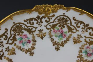8 Gold Encrusted Hand Painted Pouyat Limoges Dessert Plates Bailey Banks Biddle photo