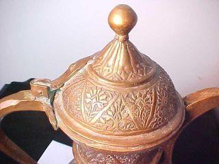 19th C.  Islamic/arabic Engraved Copper Dallah Coffee Pot Dated Hijri 1260 [1844] photo
