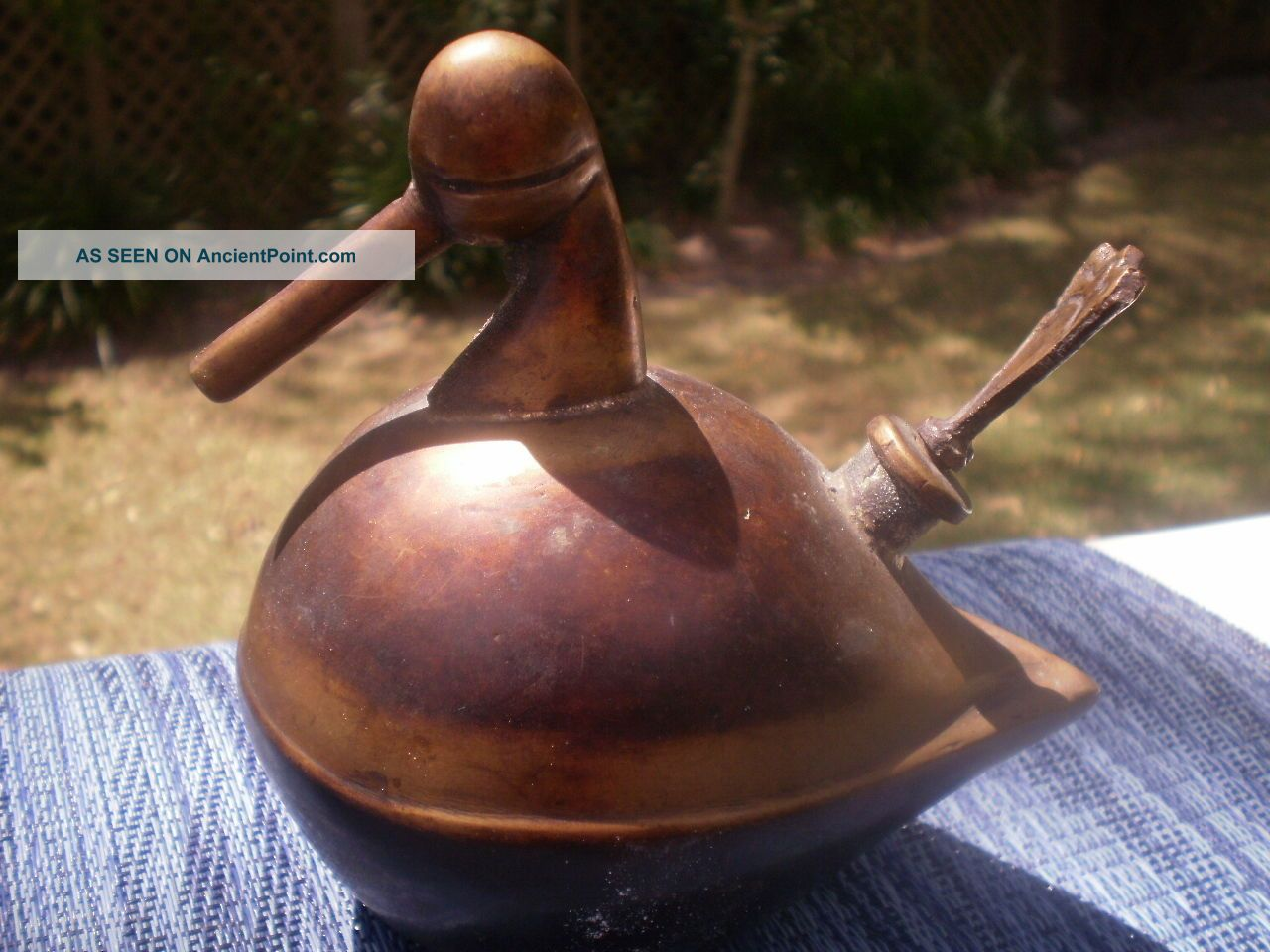 Antique Brass Child ' S Water Drinking Duck Bill Humidifier Steam Pot Hearthware Hearth Ware photo