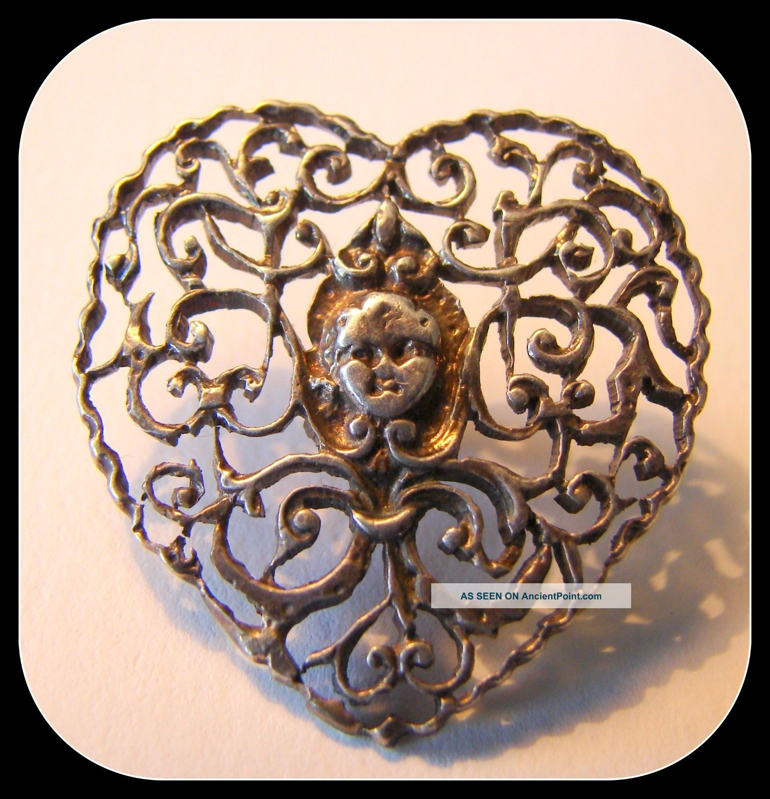 Ooak Victorian Cut Silver Metal Heart Button Filigree Scroll