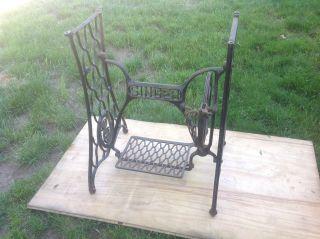 Antique 1903 Singer Sewing Machine Cast Iron Base Complete Treadle,  Legs,  Guard photo