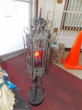 Vtg1970 ' S Knights Viking Gothic Cool Retro 3 Foot High Red Glass Shaded Lamp photo