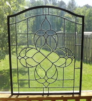 Vintage Beveled Leaded Stained Glass Window Transom Clear Salvage Arch Arched photo