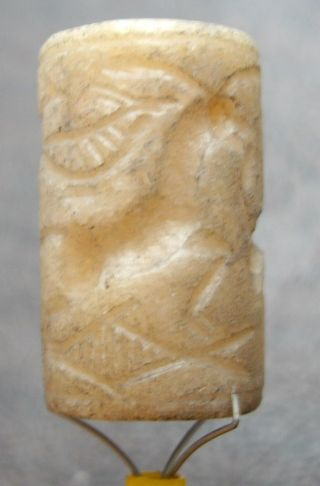 Intact Near Middle Eastern Roman Cylinder Seal Handcarved Stone Bead Stamp photo